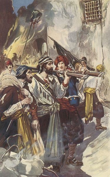 Pirate Henry Morgan arrives with his rifle and his crew  in Panama City<div class='credit'><strong>Credit:</strong> Pirate Henry Morgan arrives with his rifle and his crew  in Panama City</div>