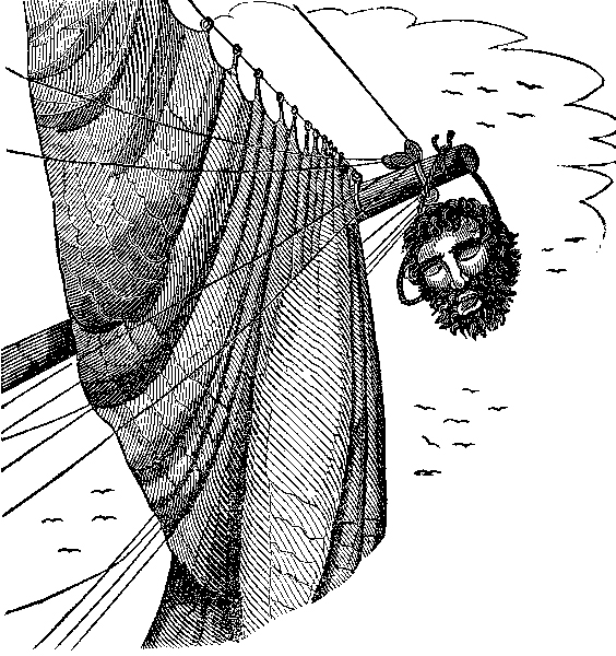 Blackbeard's head suspended from the end of a bowsprit.<div class='credit'><strong>Credit:</strong> Blackbeard's head suspended from the end of a bowsprit.</div>
