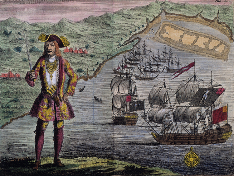 Pirate captain Bartholomew Roberts in his finery.<div class='credit'><strong>Credit:</strong> Pirate captain Bartholomew Roberts in his finery.</div>