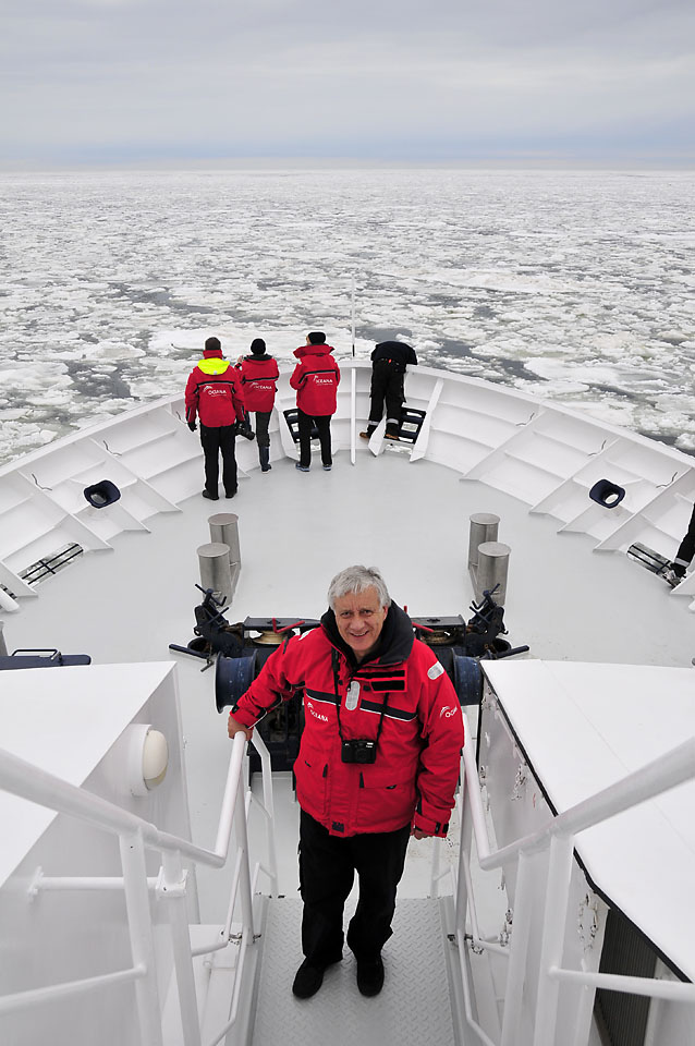 A photo of oceanographer Xavier Pastor aboard an Oceana research vessel surrounded by ice in the Baltic Sea<div class='credit'><strong>Credit:</strong> A photo of oceanographer Xavier Pastor aboard an Oceana research vessel surrounded by ice in the Baltic Sea</div>