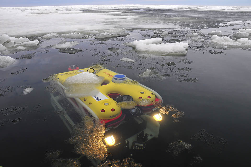 A photo of an ROV, a remotely operated vehicle, just below the surface of the icy Baltic Sea<div class='credit'><strong>Credit:</strong> A photo of an ROV, a remotely operated vehicle, just below the surface of the icy Baltic Sea</div>