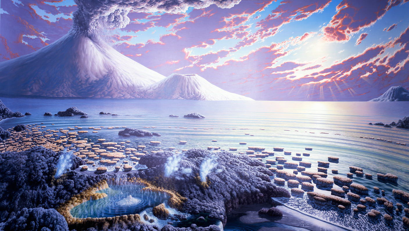 An artistic rendering of an ocean landscape as it may have looked during the Archean Eon. <div class='credit'><strong>Credit:</strong> An artistic rendering of an ocean landscape as it may have looked during the Archean Eon. </div>