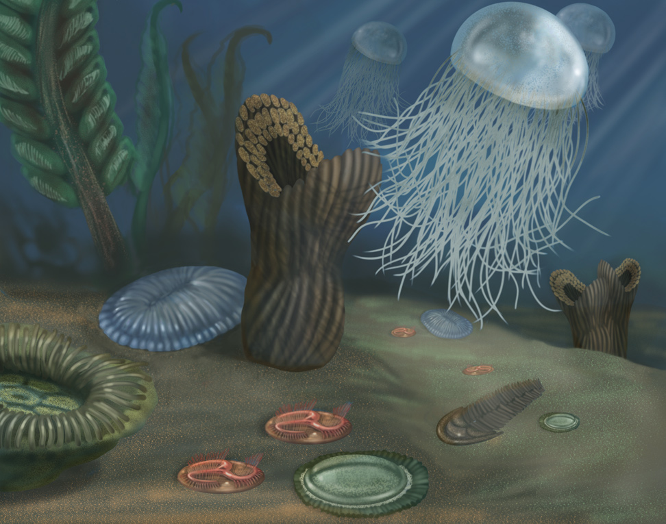 A rendering of an underwater marine scene from the Proterozoic Eon, featuring a creature that resembles a jellyfish and other organisms.<div class='credit'><strong>Credit:</strong> A rendering of an underwater marine scene from the Proterozoic Eon, featuring a creature that resembles a jellyfish and other organisms.</div>