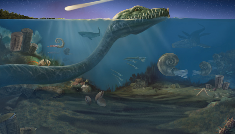 A rendering of an ocean scene as it may have looked 65 million years ago, when an astroid fell to Earth and triggered a mass extinction event. <div class='credit'><strong>Credit:</strong> A rendering of an ocean scene as it may have looked 65 million years ago, when an astroid fell to Earth and triggered a mass extinction event. </div>