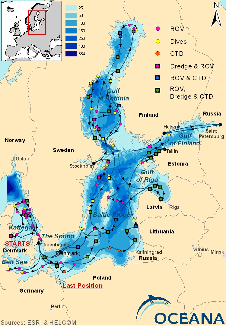 Map of Oceana's 2011 expedition to the Baltic Sea<div class='credit'><strong>Credit:</strong> Map of Oceana's 2011 expedition to the Baltic Sea</div>