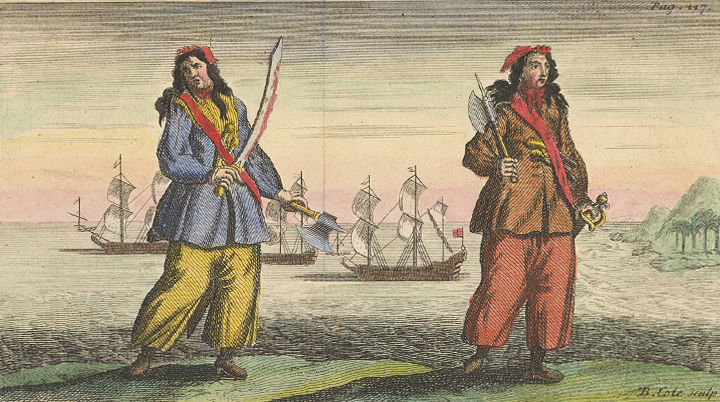 Pirates Ann Bonny and Mary Read. After their capture, they were granted stays of execution because of their conditions.<div class='credit'><strong>Credit:</strong> Pirates Ann Bonny and Mary Read. After their capture, they were granted stays of execution because of their conditions.</div>