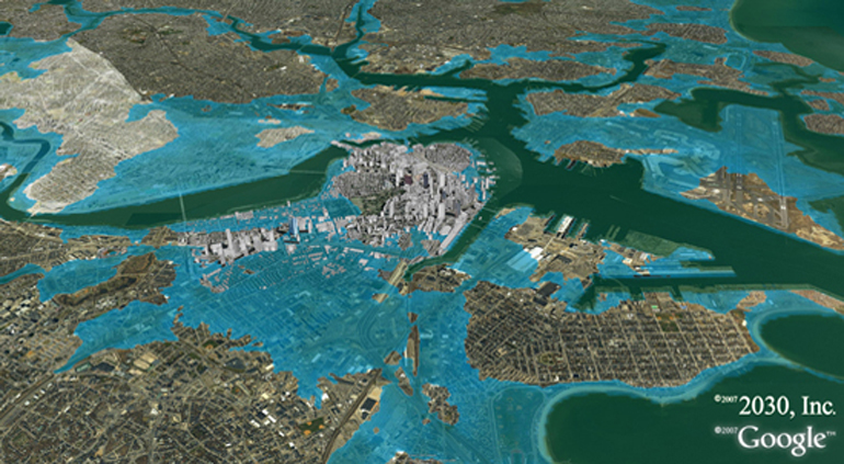 A map of Boston showing which streets would be flooded if sea level rose by 3 meters.<div class='credit'><strong>Credit:</strong> A map of Boston showing which streets would be flooded if sea level rose by 3 meters.</div>