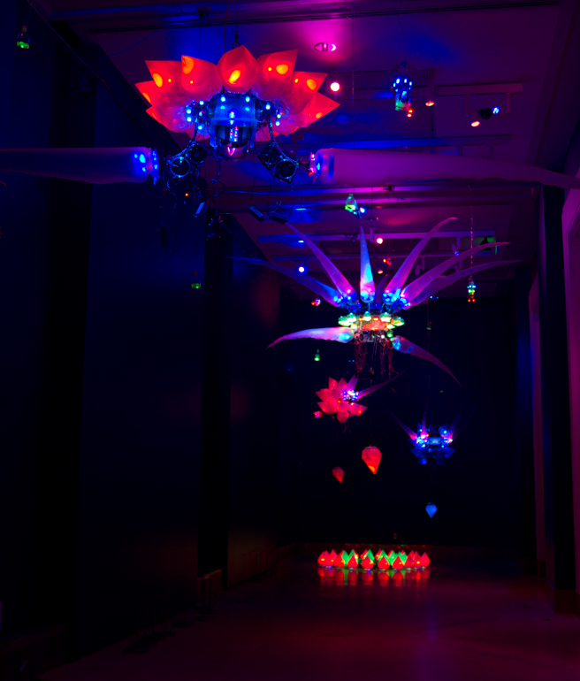 A photo of a 2011 installation by artist Shih Chieh Huang, featuring his illuminated creations made from everyday objects. <div class='credit'><strong>Credit:</strong> A photo of a 2011 installation by artist Shih Chieh Huang, featuring his illuminated creations made from everyday objects. </div>