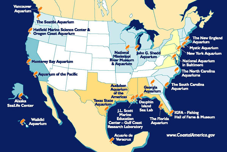 Map of the Coastal Ecosystem Learning Centers throughout North America<div class='credit'><strong>Credit:</strong> Map of the Coastal Ecosystem Learning Centers throughout North America</div>