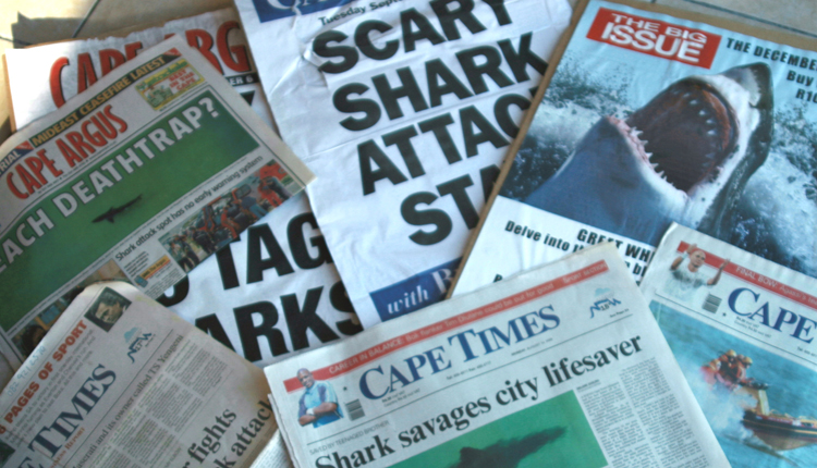 Newspapers with shark attack headlines in South Africa.<div class='credit'><strong>Credit:</strong> Newspapers with shark attack headlines in South Africa.</div>