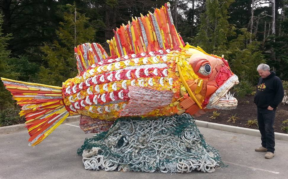 Henry the Fish is made completely out of colorful plastic that washed up on Oregon beaches.