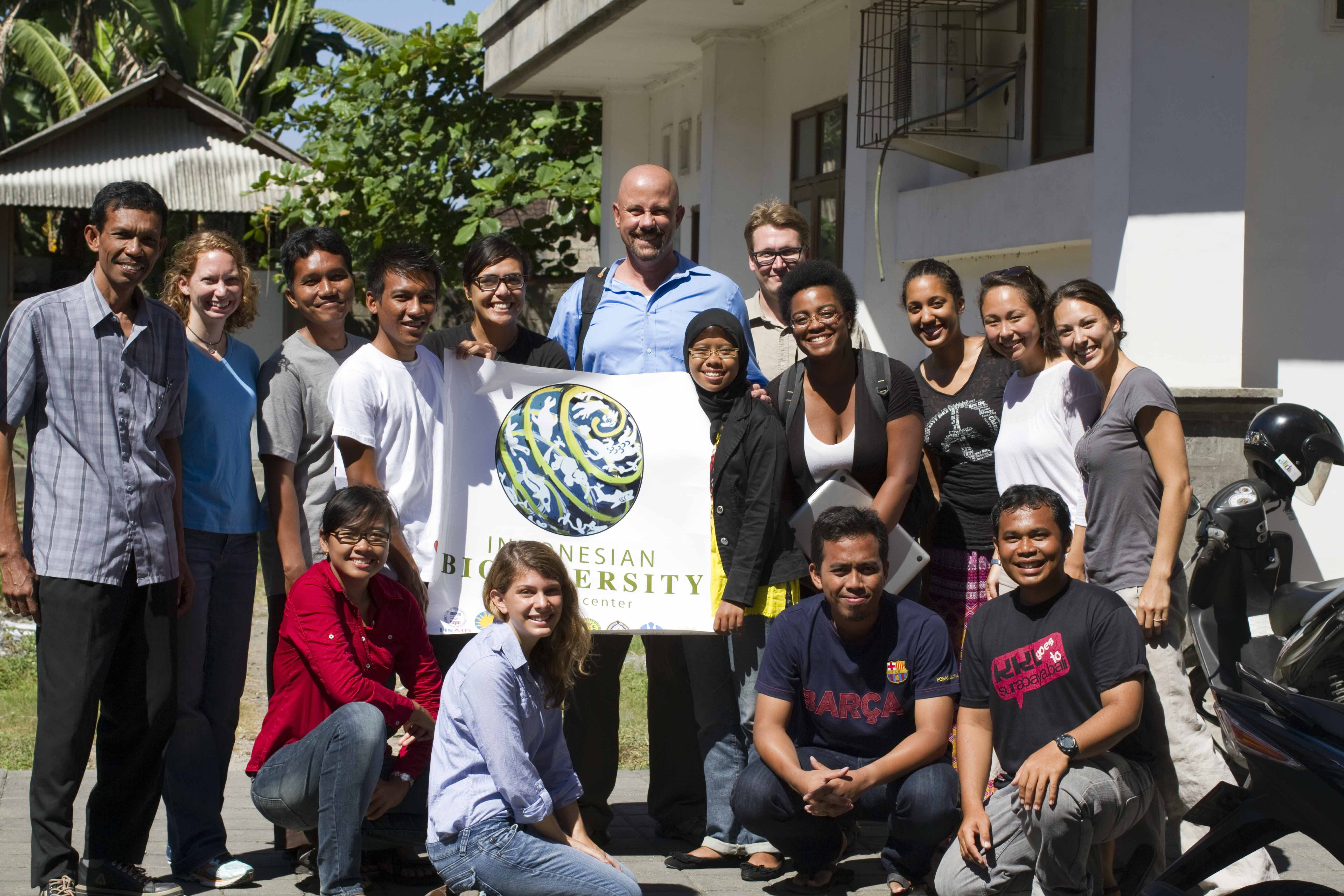 The 2012 Indonesian Biodiversity Research Center dive class stand in a group together<div class='credit'><strong>Credit:</strong> The 2012 Indonesian Biodiversity Research Center dive class stand in a group together</div>