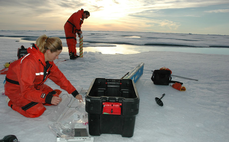 A marine biologist measures the temperature of an ice core.<div class='credit'><strong>Credit:</strong> A marine biologist measures the temperature of an ice core.</div>