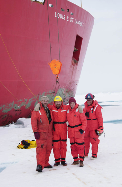 Dr. Kathy Crane and colleagues stand on solid sea ice in the Canadian Arctic.<div class='credit'><strong>Credit:</strong> Dr. Kathy Crane and colleagues stand on solid sea ice in the Canadian Arctic.</div>