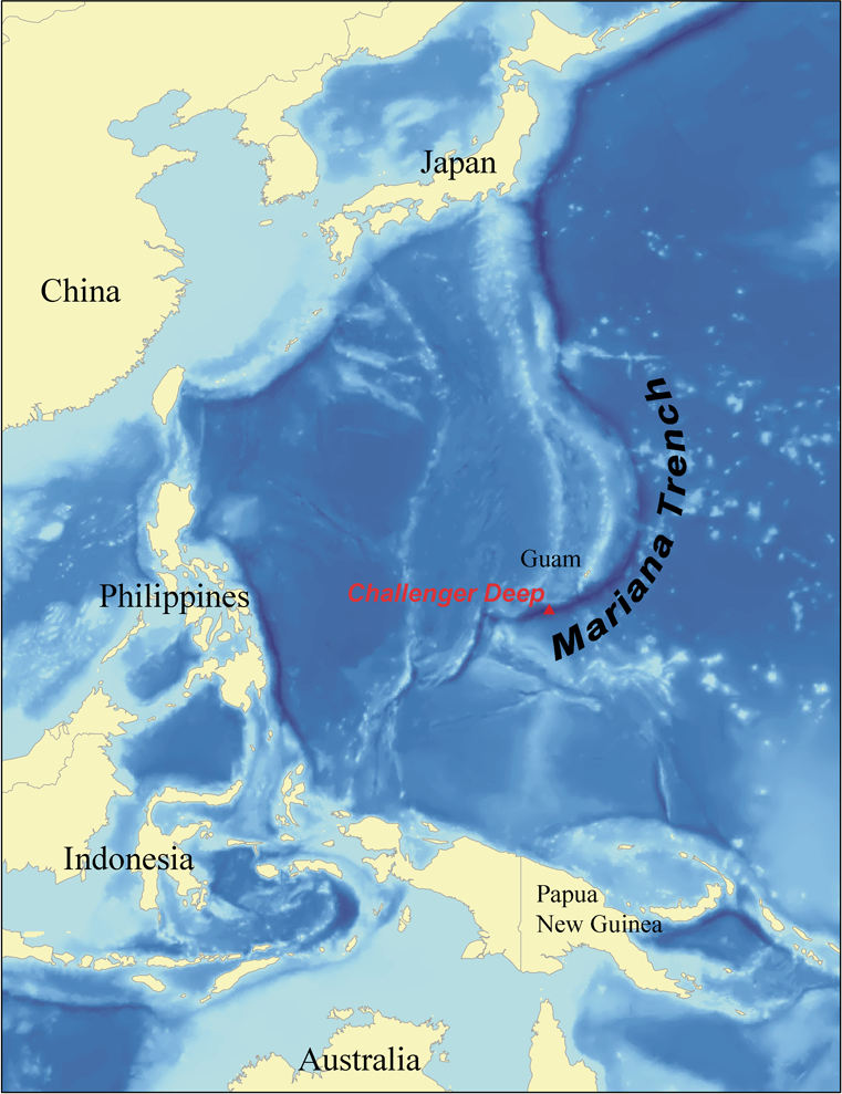 The deepest point on earth is the Mariana Trench.<div class='credit'><strong>Credit:</strong> The deepest point on earth is the Mariana Trench.</div>