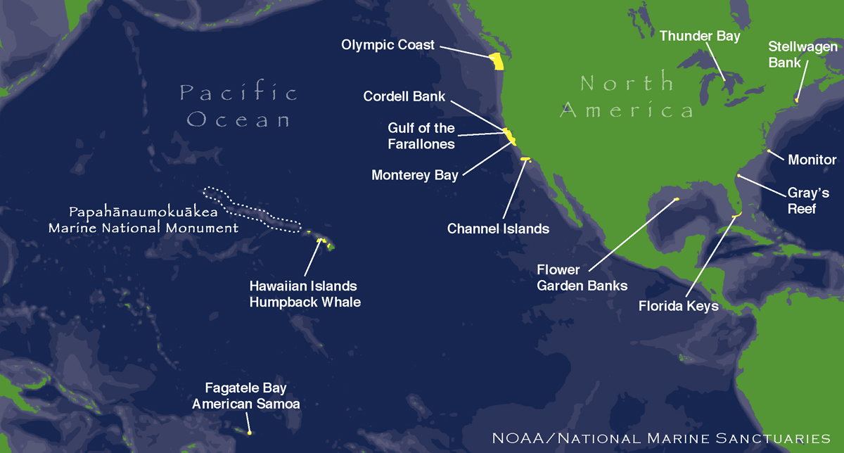 A map of NOAA's 13 marine protected areas<div class='credit'><strong>Credit:</strong> A map of NOAA's 13 marine protected areas</div>