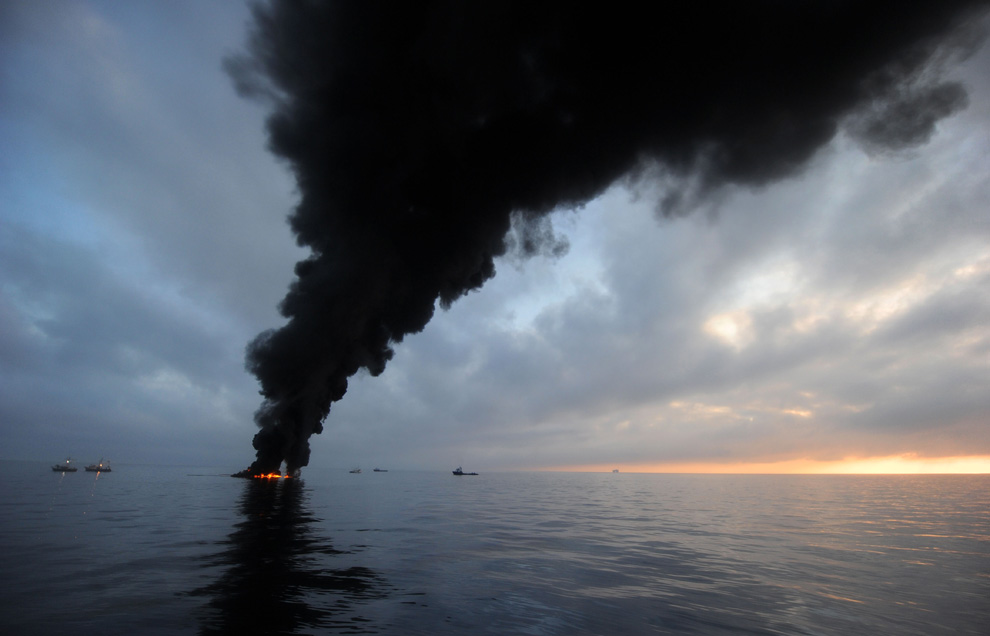Oil burns during a controlled fire May 6, 2010 in the Gulf of Mexico.<div class='credit'><strong>Credit:</strong> Oil burns during a controlled fire May 6, 2010 in the Gulf of Mexico.</div>