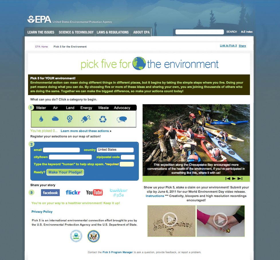 EPA Pick 5 for the Environment website screenshot<div class='credit'><strong>Credit:</strong> EPA Pick 5 for the Environment website screenshot</div>