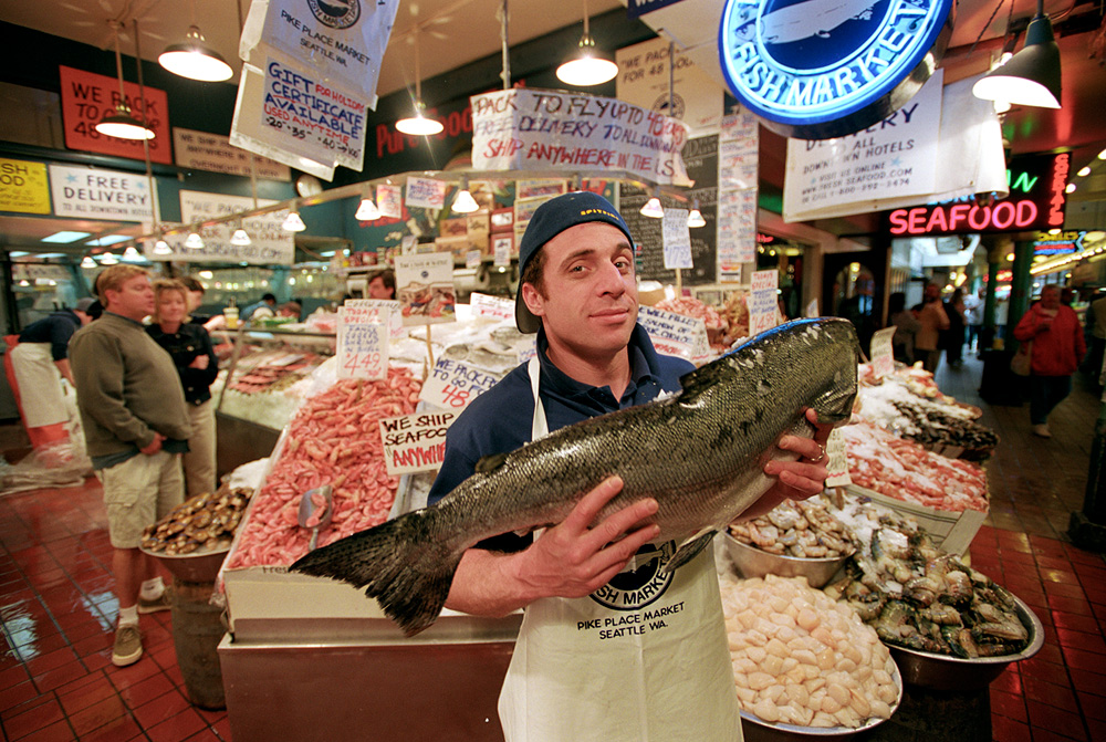 David Barouh displays fresh fish for sale at Seattle's Pike Place Market<div class='credit'><strong>Credit:</strong> David Barouh displays fresh fish for sale at Seattle's Pike Place Market</div>