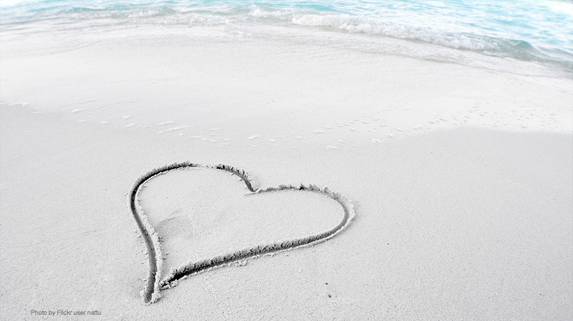 A photo of a beach with a heart inscribed in the sand. <div class='credit'><strong>Credit:</strong> A photo of a beach with a heart inscribed in the sand. </div>