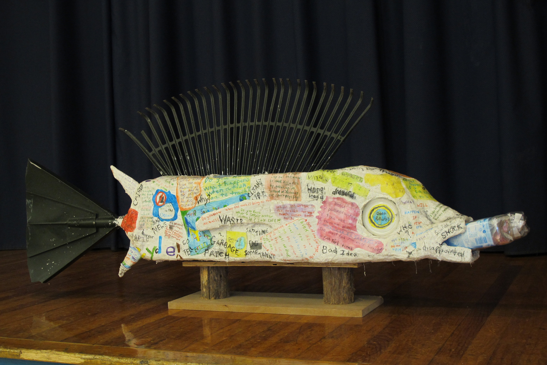 A four-foot long fish sculpture has fins and tail made with recycled rakes. <div class='credit'><strong>Credit:</strong> A four-foot long fish sculpture has fins and tail made with recycled rakes. </div>