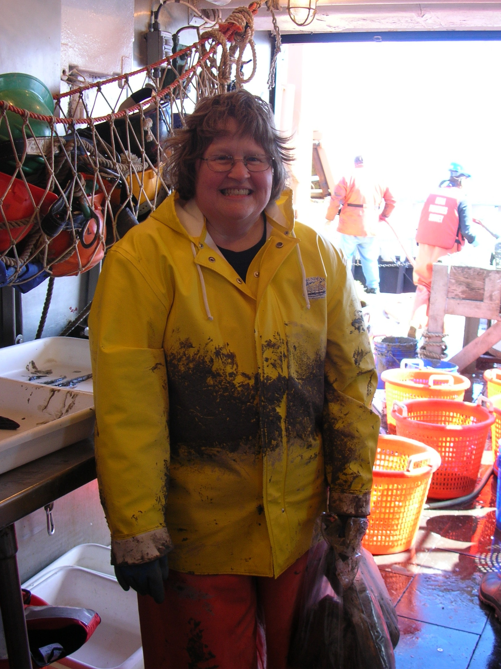 Museum Specialist Ruth Gibbons, aboard a deep sea research vessel processing specimens<div class='credit'><strong>Credit:</strong> Museum Specialist Ruth Gibbons, aboard a deep sea research vessel processing specimens</div>