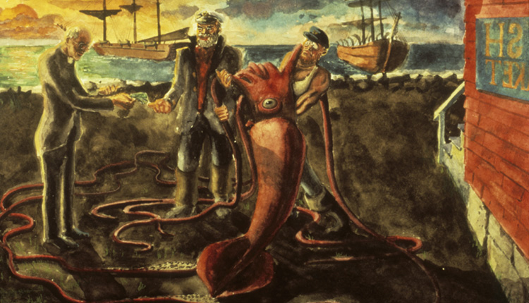 In 1874, Reverend Moses Harvey of Newfoundland bought a dead giant squid caught by fishermen.<div class='credit'><strong>Credit:</strong> In 1874, Reverend Moses Harvey of Newfoundland bought a dead giant squid caught by fishermen.</div>