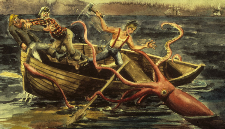 A giant squid attacks a boat - something that has not been known to happen in real life.<div class='credit'><strong>Credit:</strong> A giant squid attacks a boat - something that has not been known to happen in real life.</div>