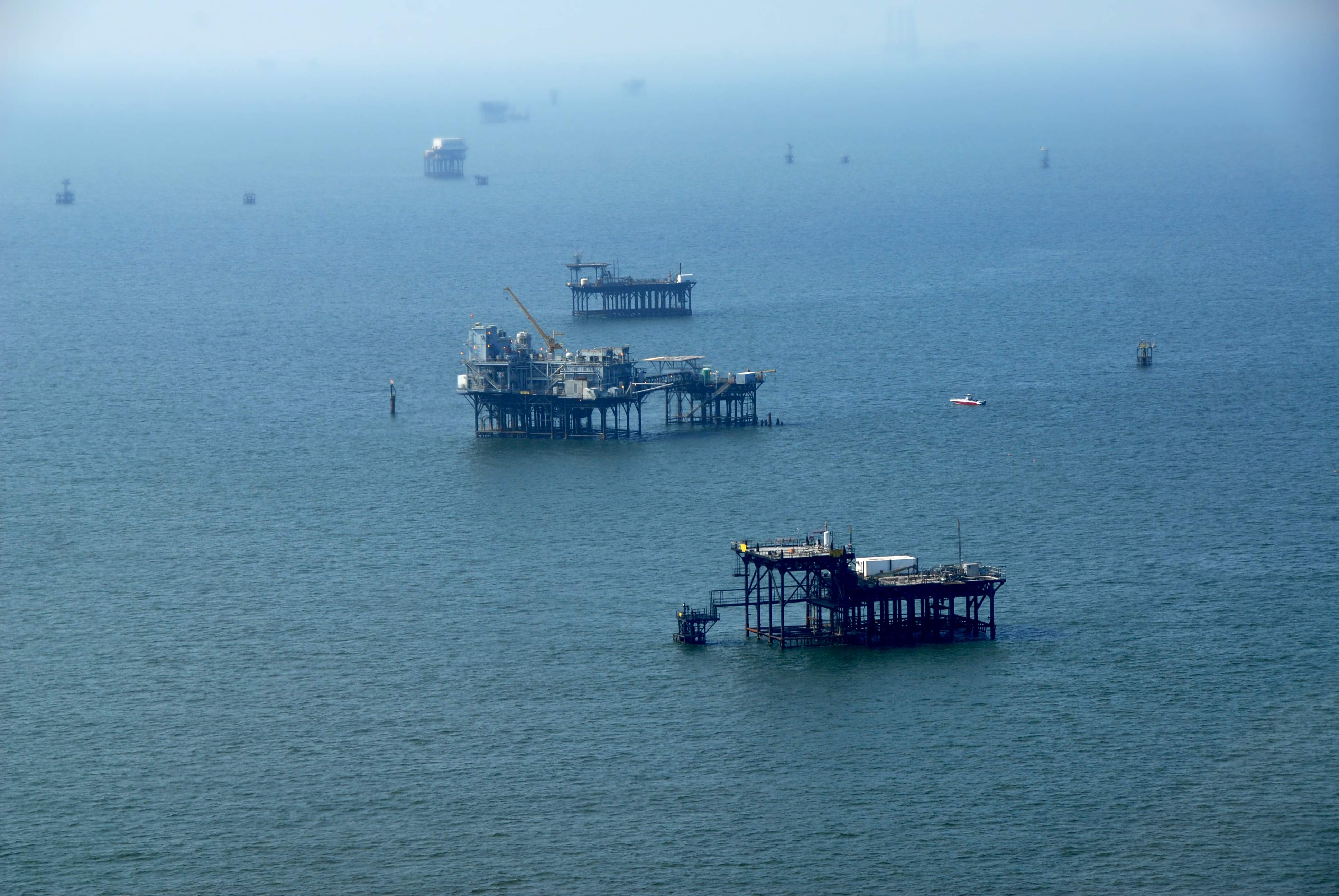 An aerial shot of oil rigs off the Louisiana coast.  <div class='credit'><strong>Credit:</strong> An aerial shot of oil rigs off the Louisiana coast.  </div>