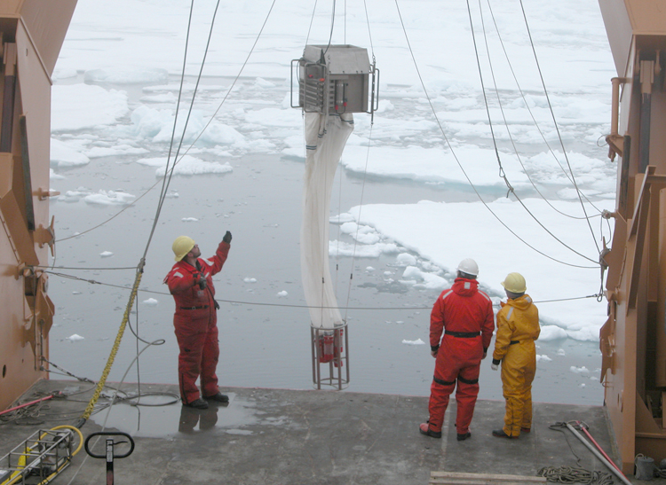 Scientists use a multinet to collect zooplankton.<div class='credit'><strong>Credit:</strong> Scientists use a multinet to collect zooplankton.</div>