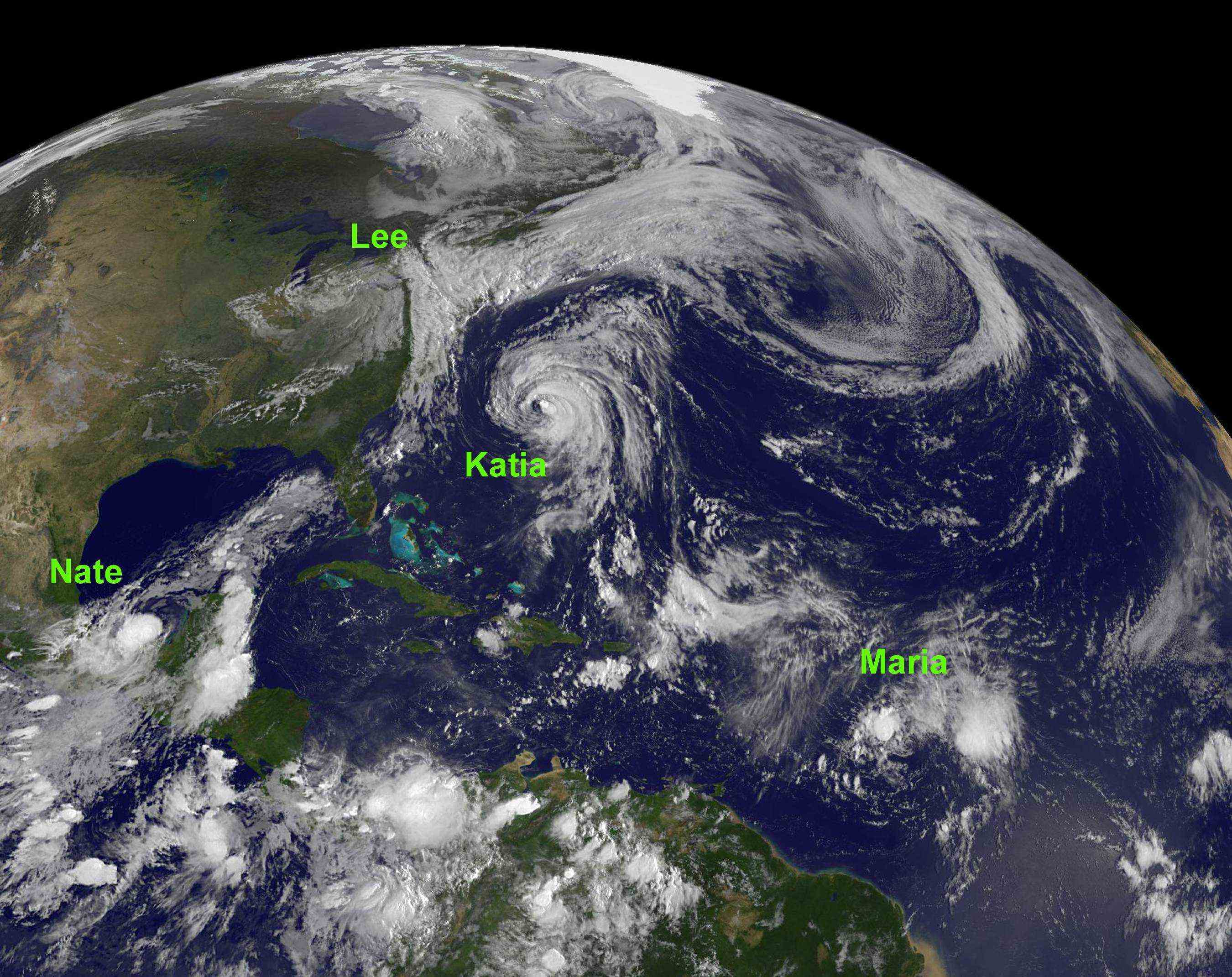 NOAA satellite image of four tropical storms in the Atlantic Ocean basin on 9/8/2011<div class='credit'><strong>Credit:</strong> NOAA satellite image of four tropical storms in the Atlantic Ocean basin on 9/8/2011</div>