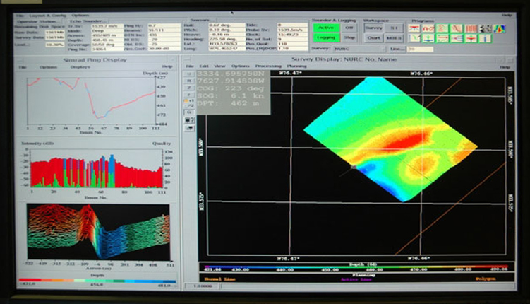 This computer screen image shows views of each sonar beam and the path being mapped by the ship.<div class='credit'><strong>Credit:</strong> This computer screen image shows views of each sonar beam and the path being mapped by the ship.</div>
