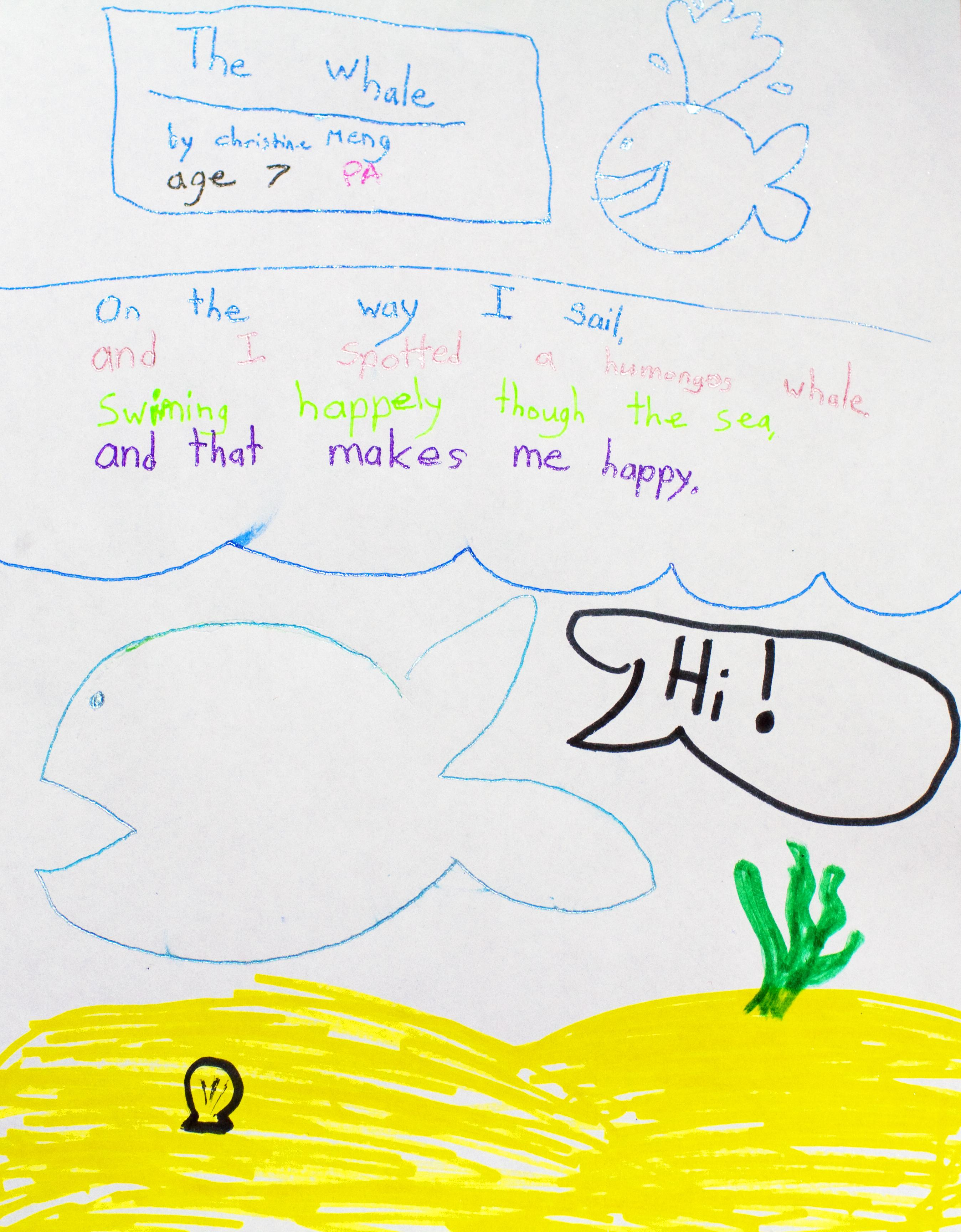 "A poem titled ""The Whale"" written in magic markers with a drawing of a whale. <div class='credit'><strong>Credit:</strong> A poem titled ""The Whale"" written in magic markers with a drawing of a whale. </div>"