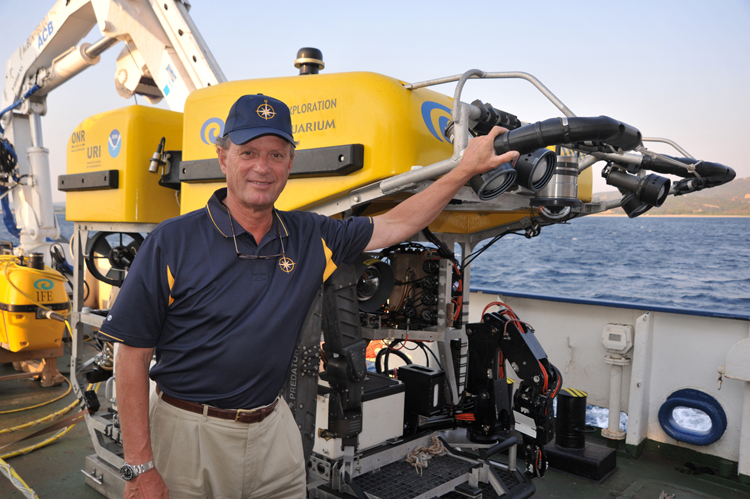 Dr. Robert Ballard with an ROV<div class='credit'><strong>Credit:</strong> Dr. Robert Ballard with an ROV</div>