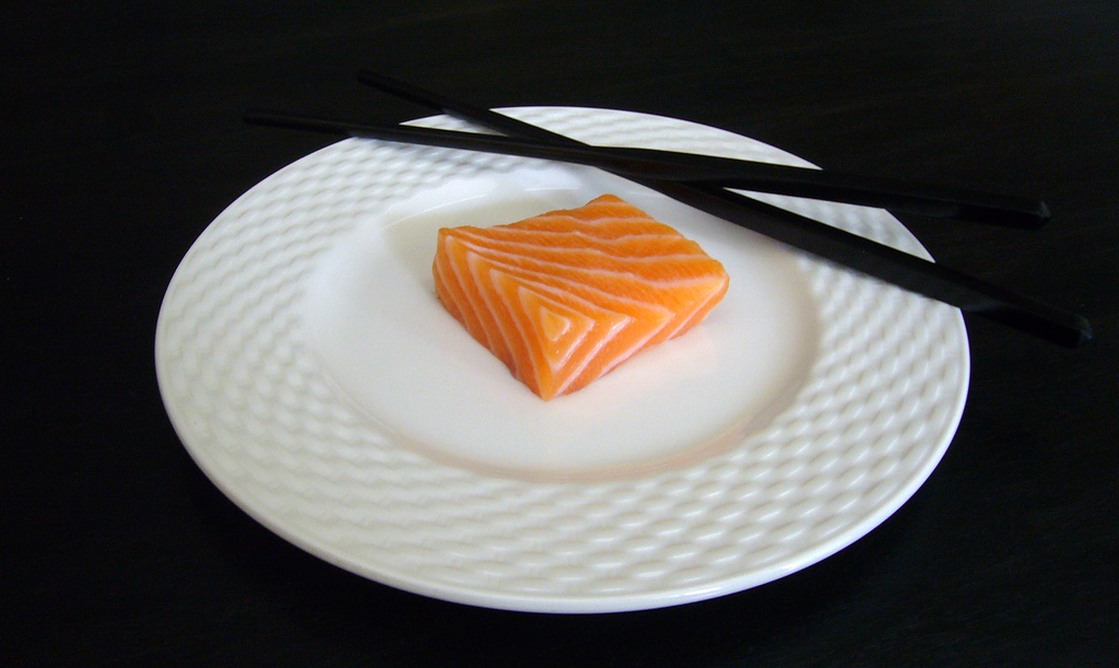 Cut of Atlantic Salmon on a Plate<div class='credit'><strong>Credit:</strong> Cut of Atlantic Salmon on a Plate</div>