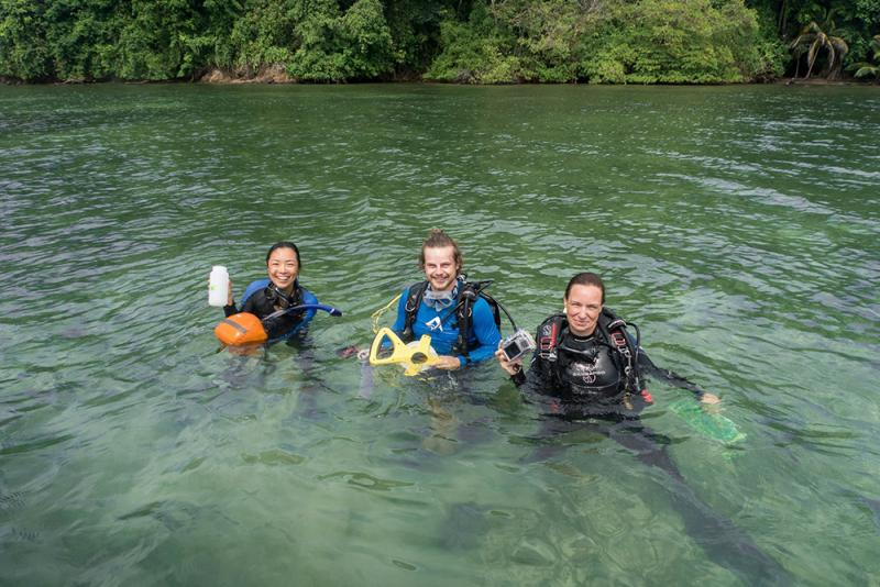 A team of Smithsonian scientists poses in the waters of Panama.
