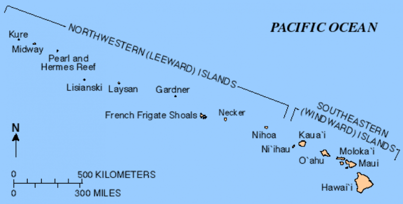 A map of the Hawaiian Islands including the windward and leeward islands.
