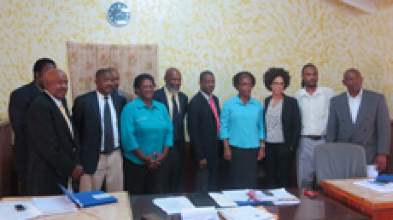 Members of the Barbuda Council after signing coastal zoning regulations into law.