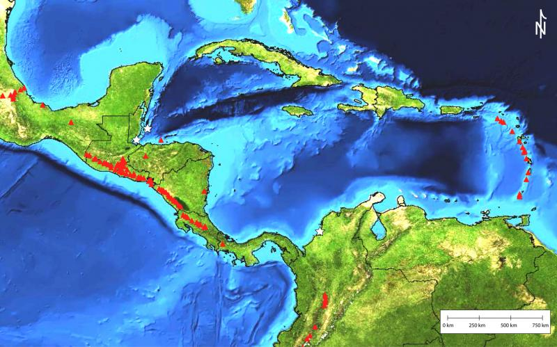 Map of volcanoes of Central America and within the Caribbean Sea.