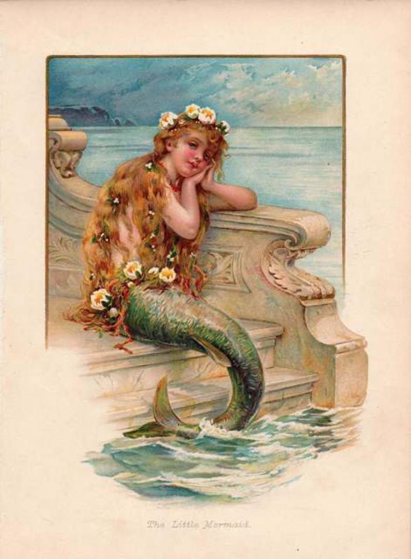 Illustration of The Little Mermaid, mid-19th century.