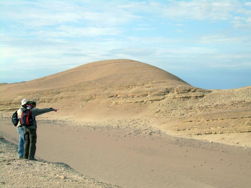 Two researchers, looking for fossil whales, scan a rock formation in Peru's Pisco Basin.