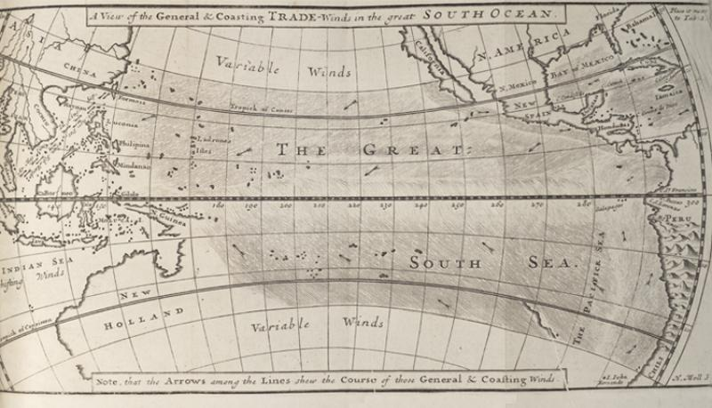 "The arrows show the direction of ocean currents recorded by William Dampier while crossing ""La Grande Mer du Sud""—the Pacific Ocean."