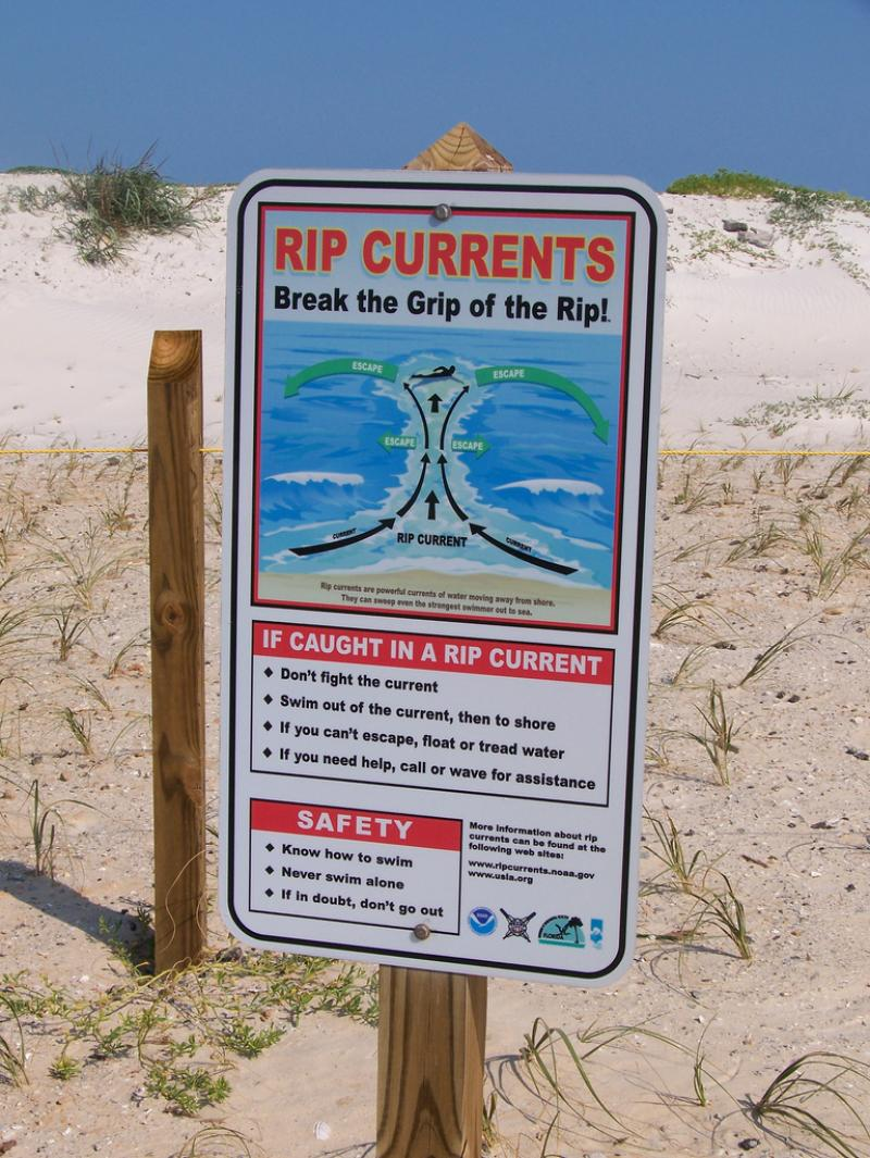 Rip currents are dangerous and fast moving.