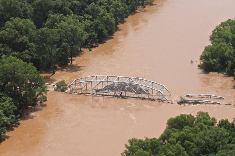 A bridge is flooded in Oklahoma after a hurricane