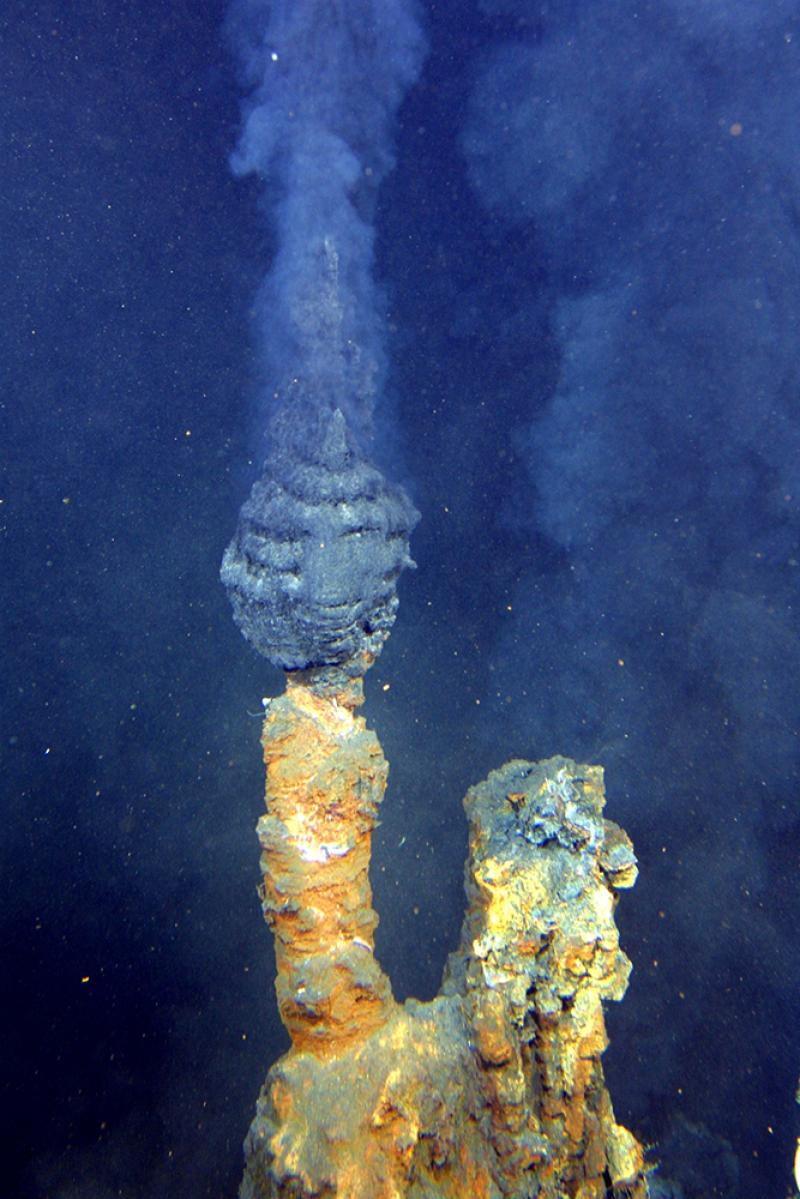 """Black smokers"" spew hot water full of particles from the seafloor."