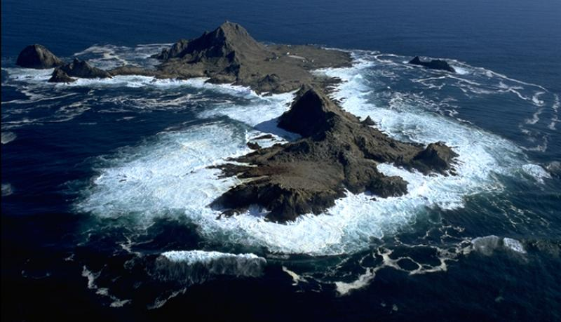 An aerial view of the rocky islands that make up the Gulf of the Farallones.