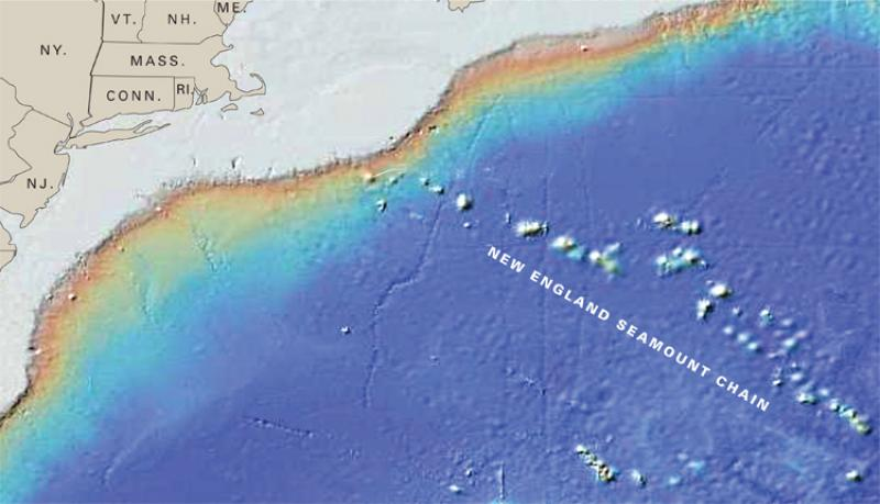 The New England Seamount Chain is the longest in the North Atlantic Ocean and includes peaks of more than 30 extinct volcanoes.