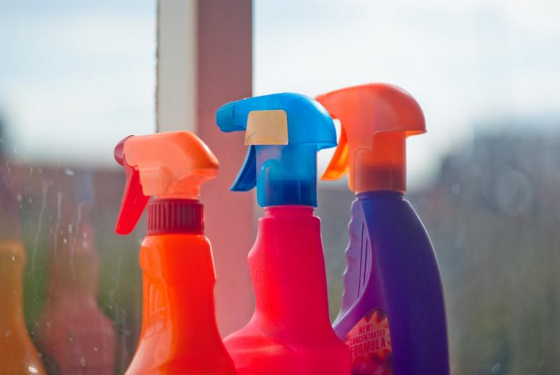 Three cleaning spray bottles