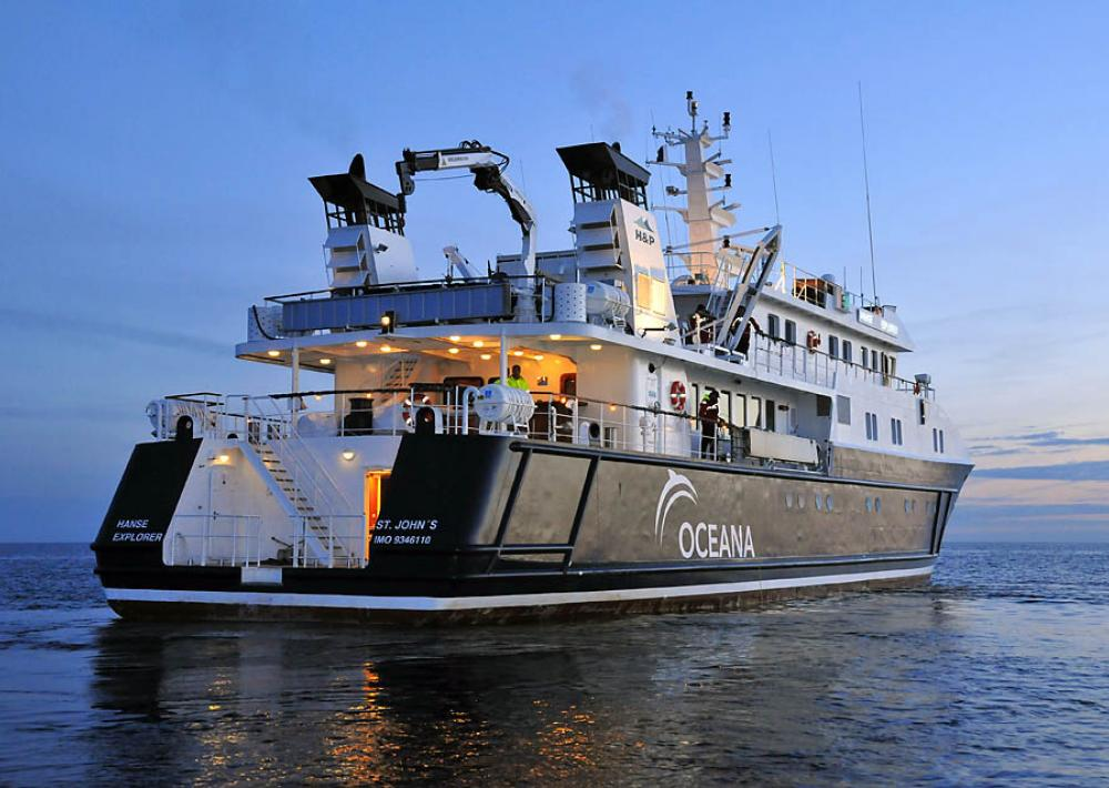 A photo of Oceana's ice class research vessel, the Hanse Explorer, on the Baltic Sea.