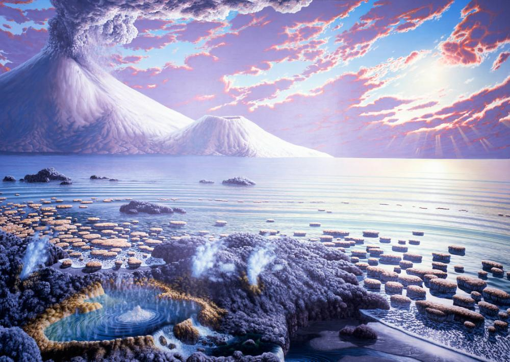 An artistic rendering of an ocean landscape as it may have looked during the Archean Eon.